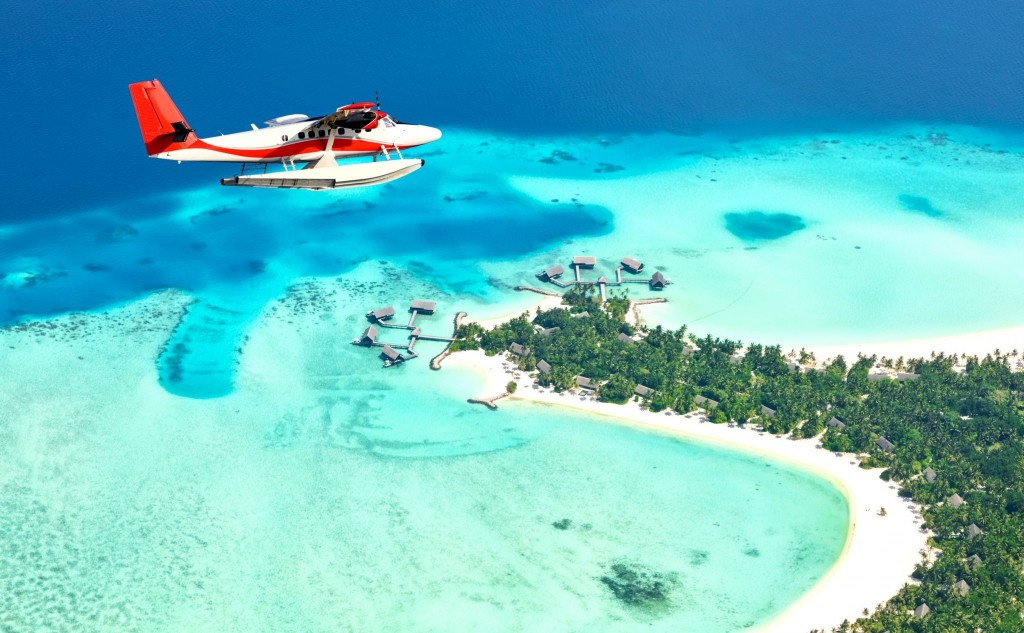 Hydroplán je běžným způsobem cestování mezi ostrovy Malediv