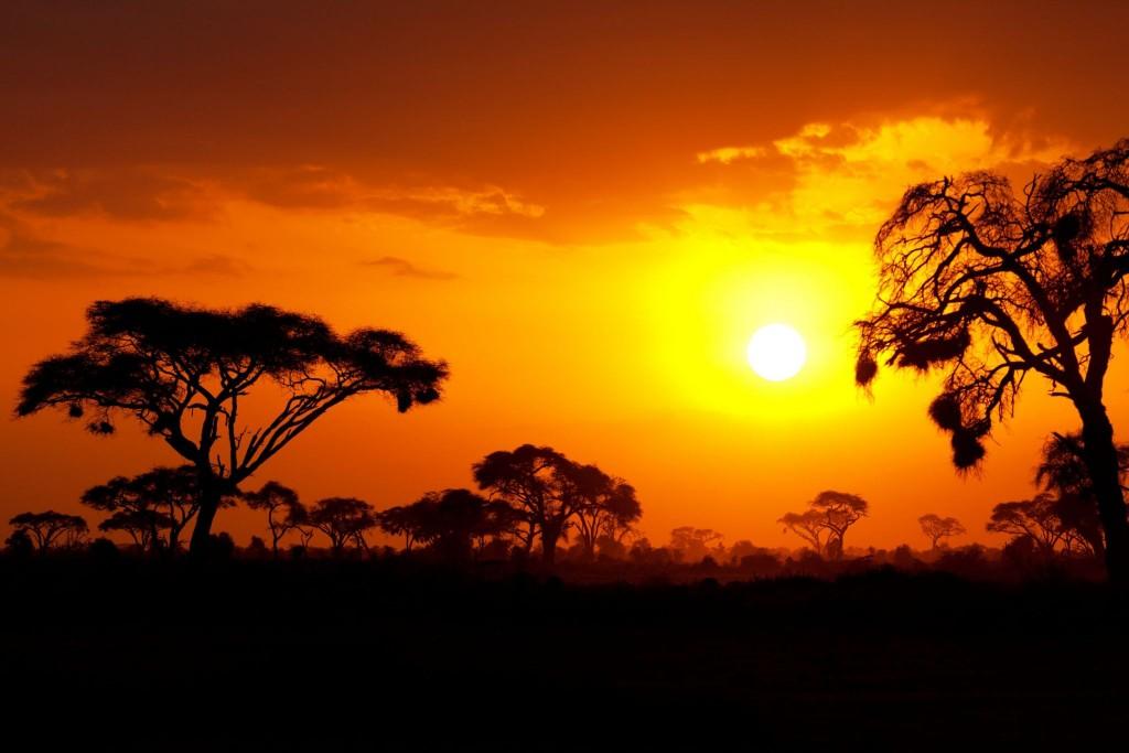 Nádherný africký západ slunce v Masai Mara