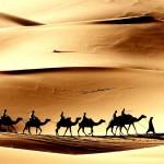 Karavana putující mezi egyptskými oázami