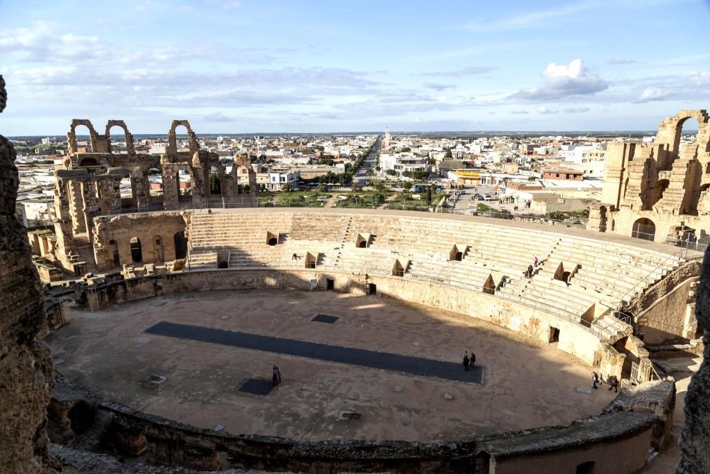 Výhled na El Djem z místního kolosea