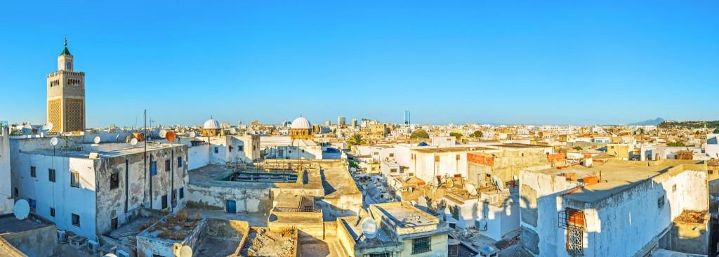 Výhled na medinu a mešitu města Tunis