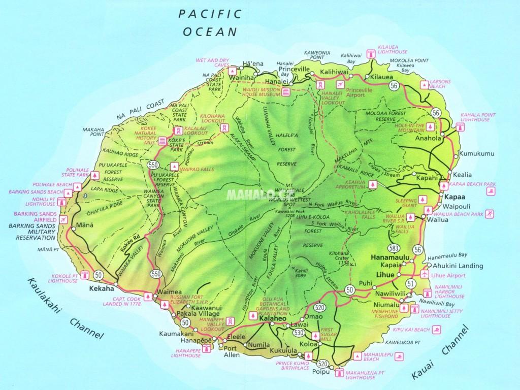Mapa ostrova Kauai