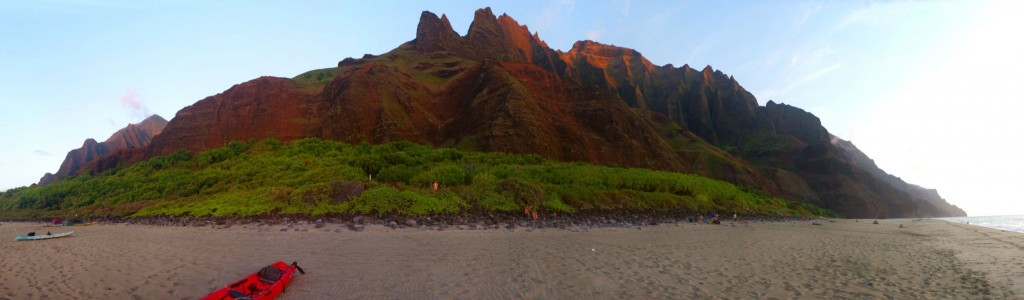 Kalalau Beach při západu Slunce