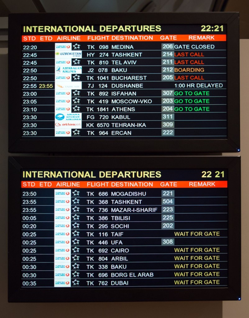Digitální tabule s výpisem letů (odletů - Departures)