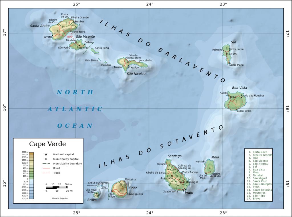 Mapa Kapverdských ostrovů