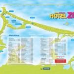 Přehled hotelů na mapce Cancúnu