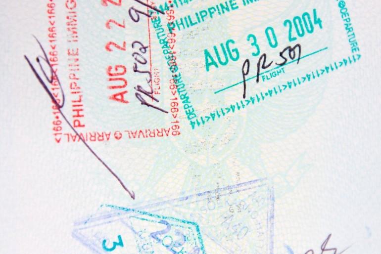 Filipínské razítko v pase