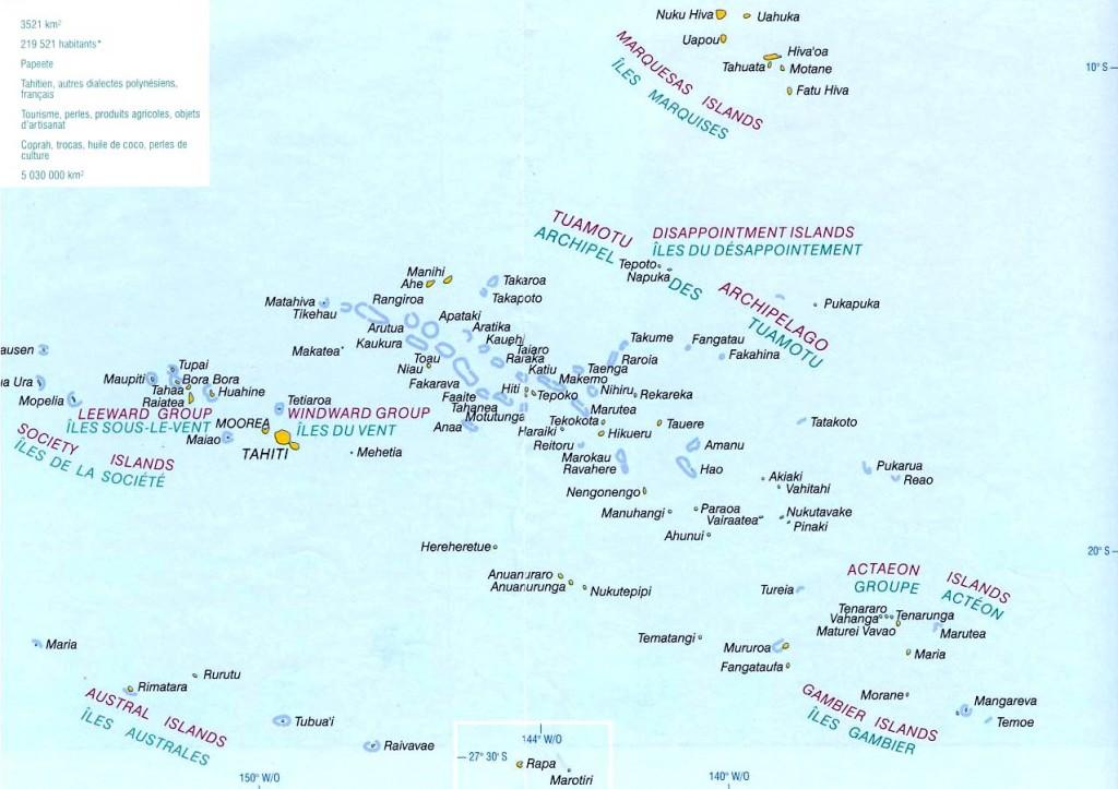 Mapa Francouzské Polynésie
