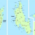 Mapa Zanzibaru, Pemby a ostrovu Mafia