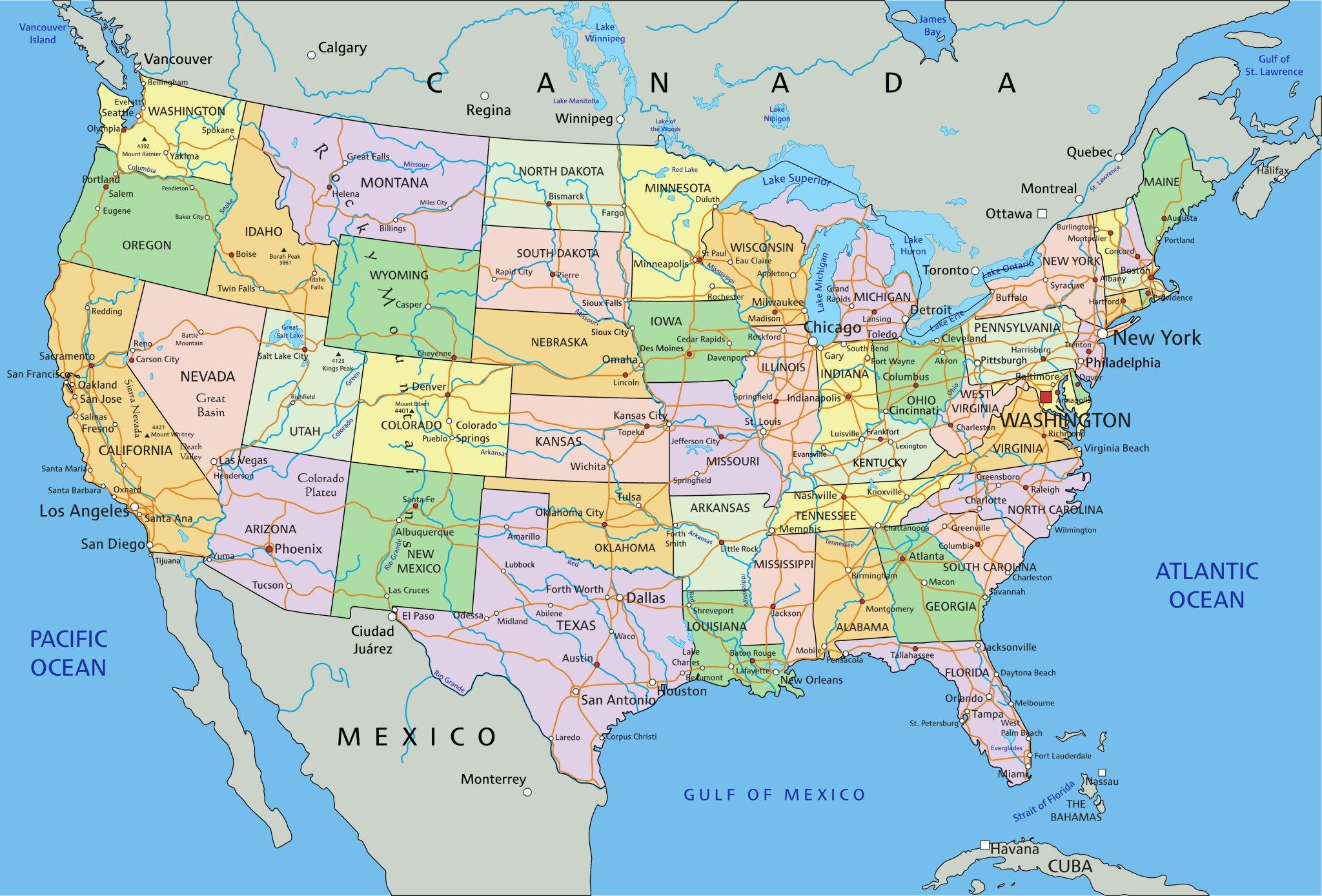 Jednotlivé Státy USA USA MAHALOcz - Usa mapa
