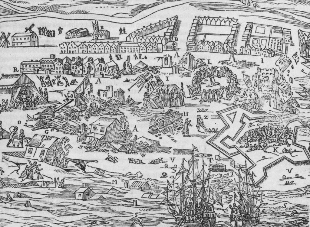 Mapa Port Royal před zemětřesením v roce 1692