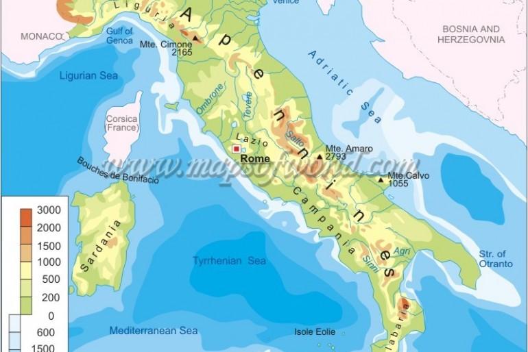 Mapa pohoří Itálie