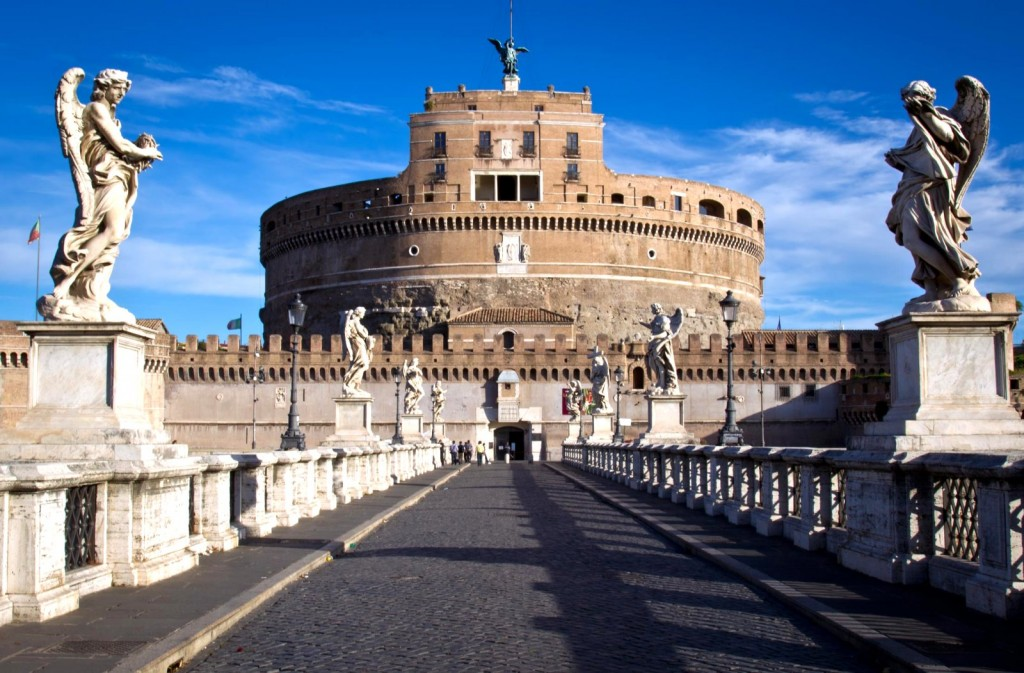 Andělský hrad z mostu Ponte Sant Angelo