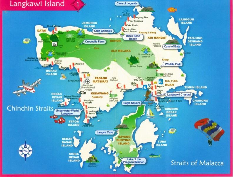 Plánek ostrova Pulau Langkawi