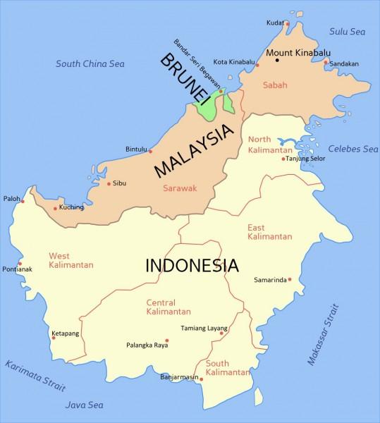 Ostrov Borneo - Kalimantan