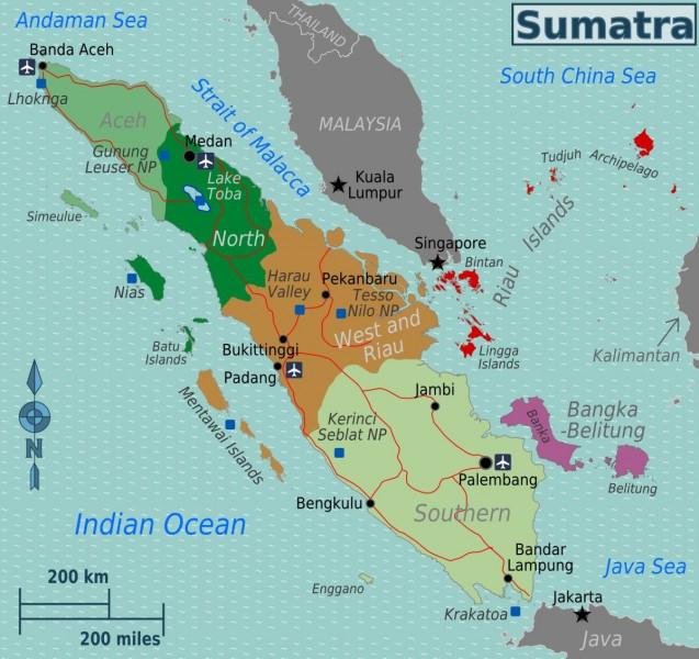 Plánek ostrova Sumatra