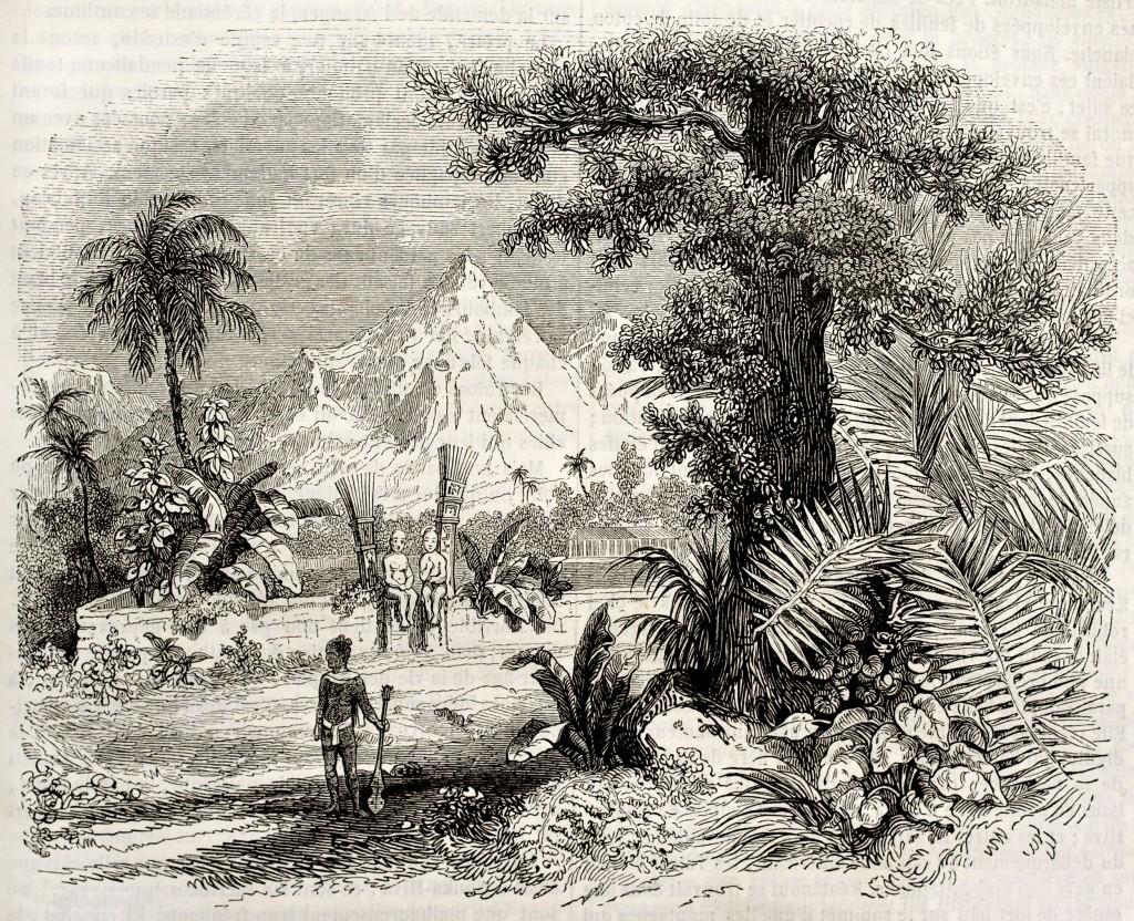 Historická kresba heiau na Markézách