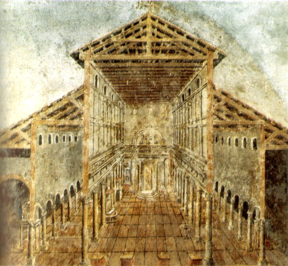 Freska zobrazující baziliku sv. Petra ve 4. století n.l.