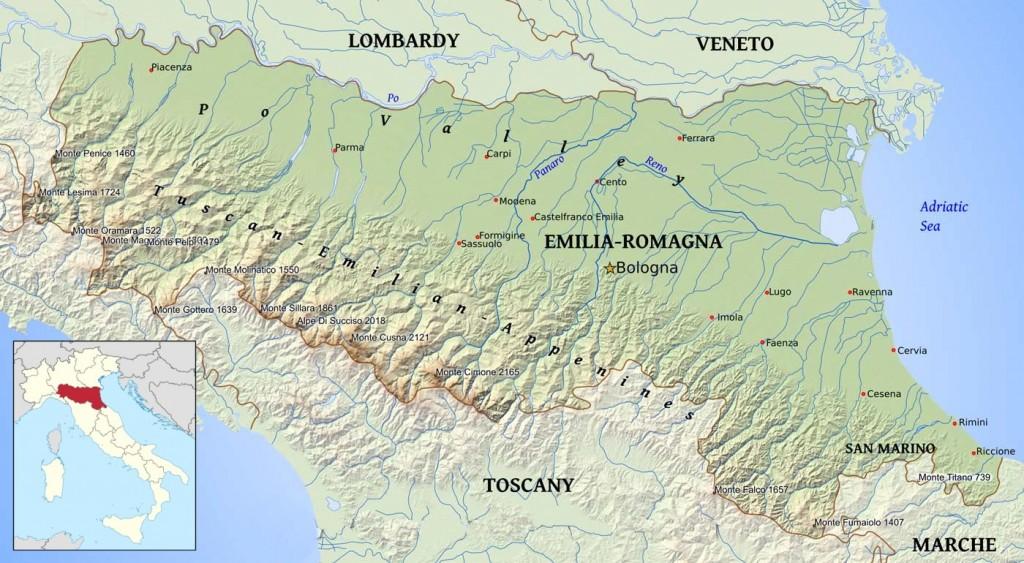 Mapa Emilia-Romagna