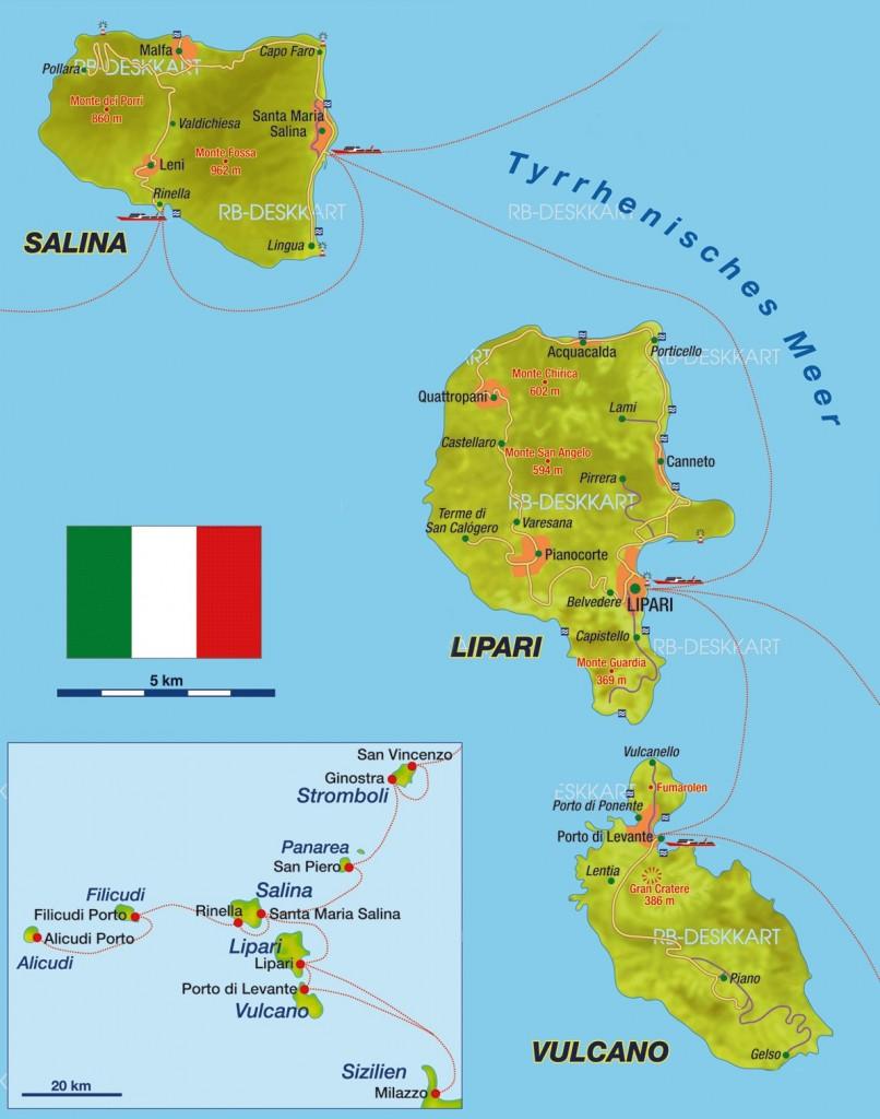 Mapa Liparských ostrovů