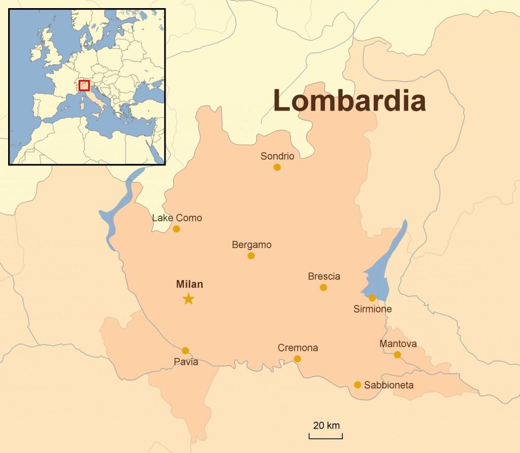 Mapa Lombardie
