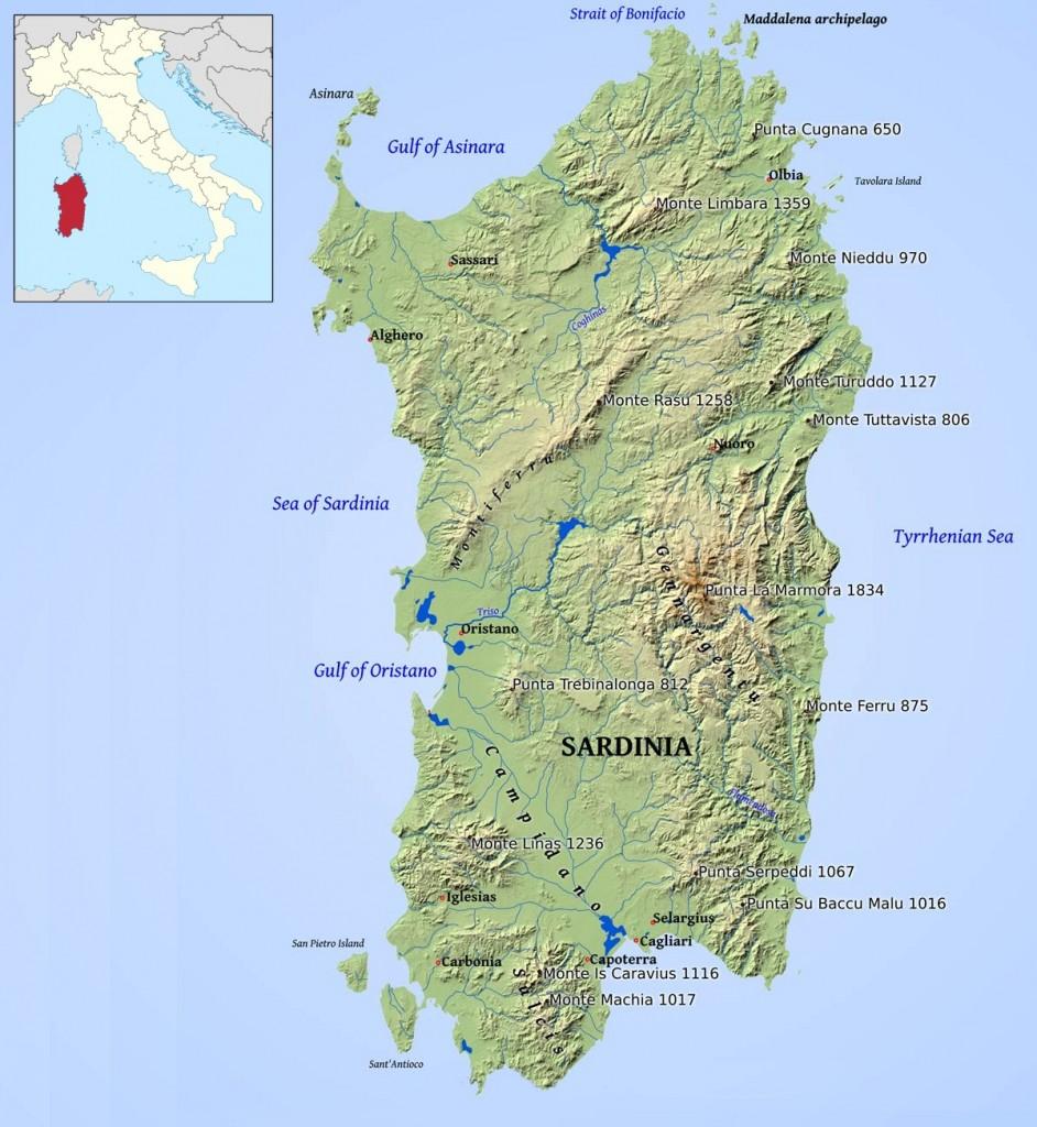 Mapa Sardínie