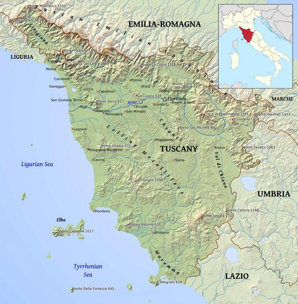 Mapa Toskánska