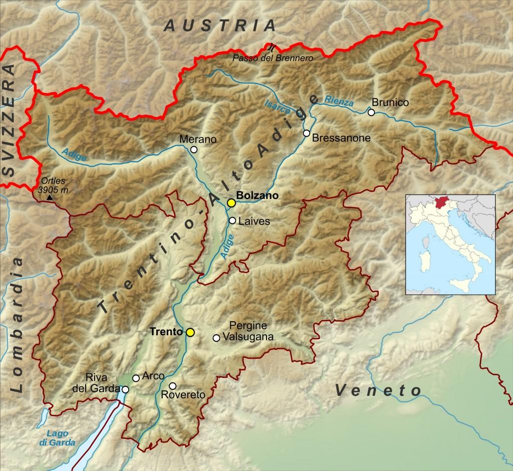 Mapa Trentino-Alto Adige