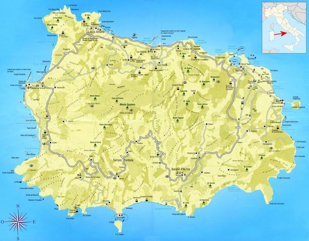 Mapa ostrova Ischia