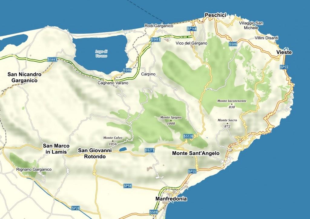 Mapa poloostrova Gargano