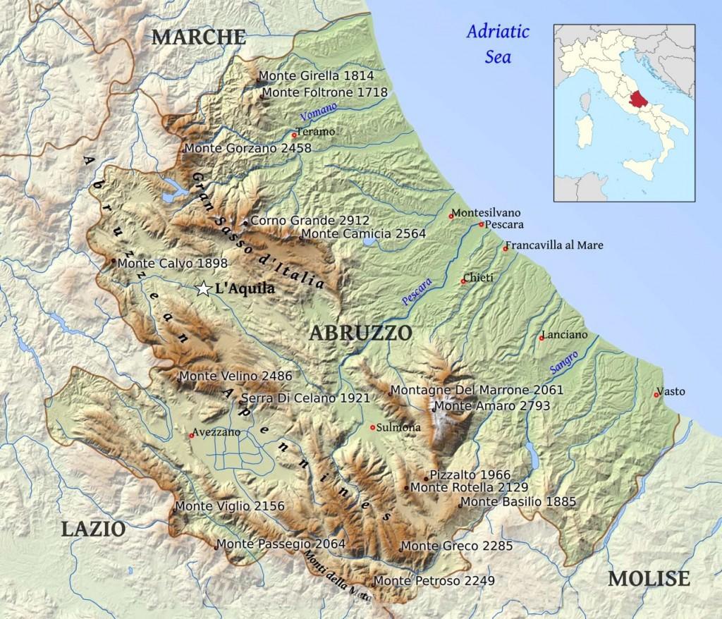 Mapa regionu Abruzzo