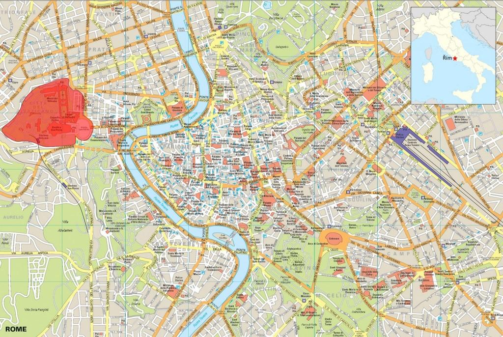 Vatikán na mapě Říma