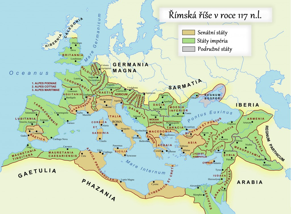 Mapa Říše římské v době největšího rozkvětu (rok 117 n.l.)