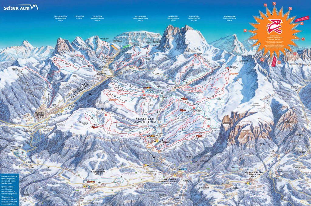 Mapa Alpe di Siusi (Seiser Alm)