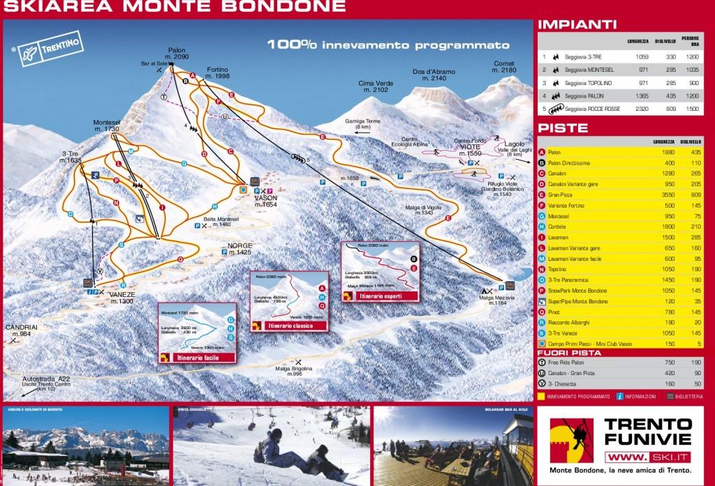 Mapa Monte Bondone