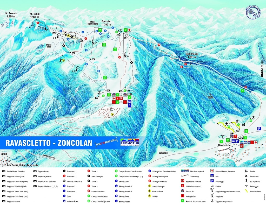 Mapa Ravascletto-Zoncolan