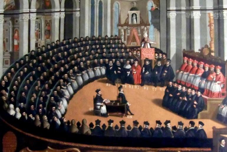 Dobové vyobrazení Tridenského koncilu