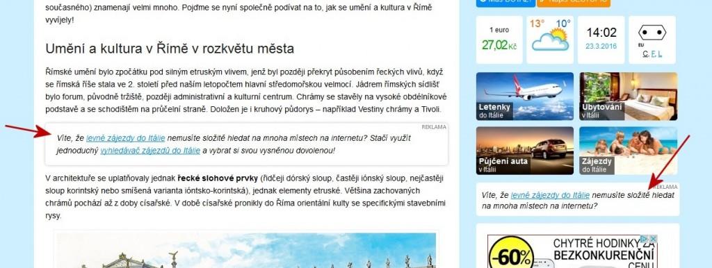 Reklamní odkazy v textu článků a v bočním sloupci