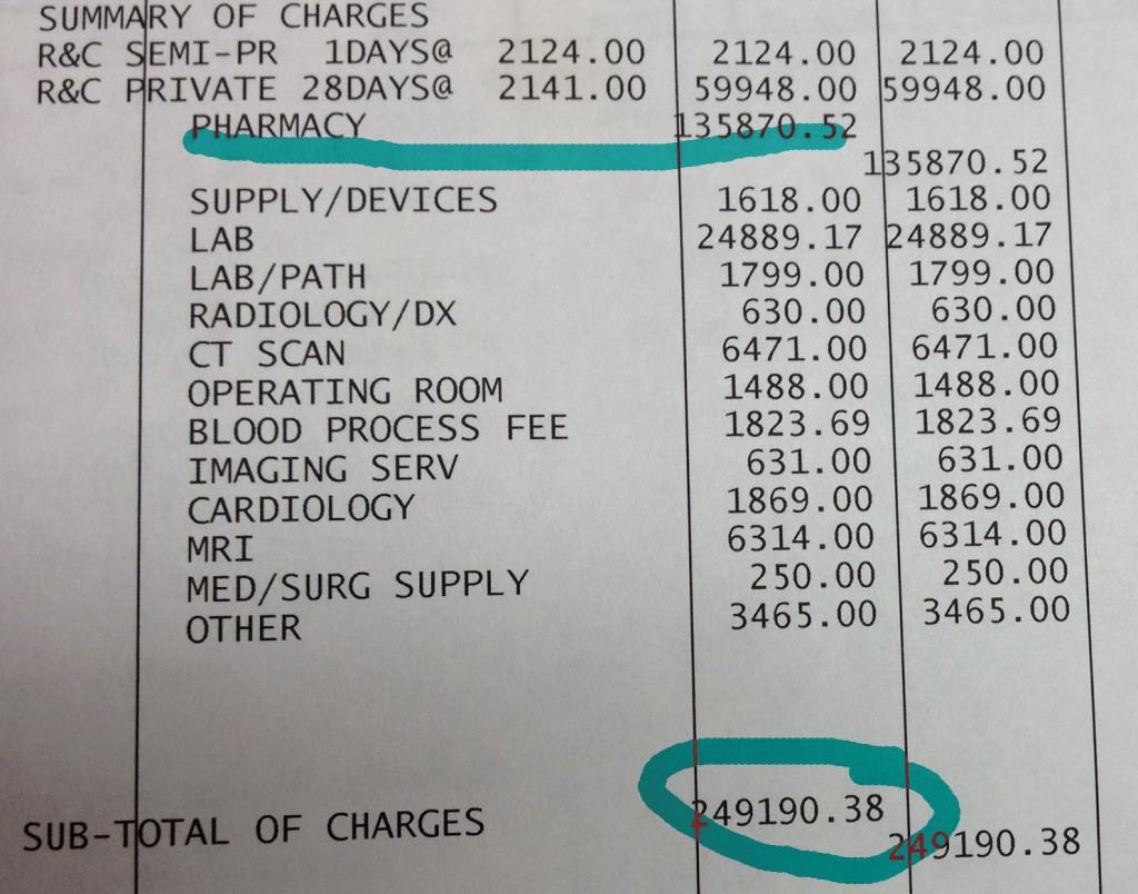 Účtenka z americké nemocnice na 6 250 000 Kč
