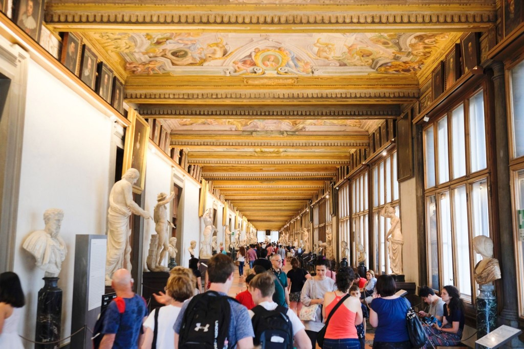 Interiér v Galleria degli Uffizi