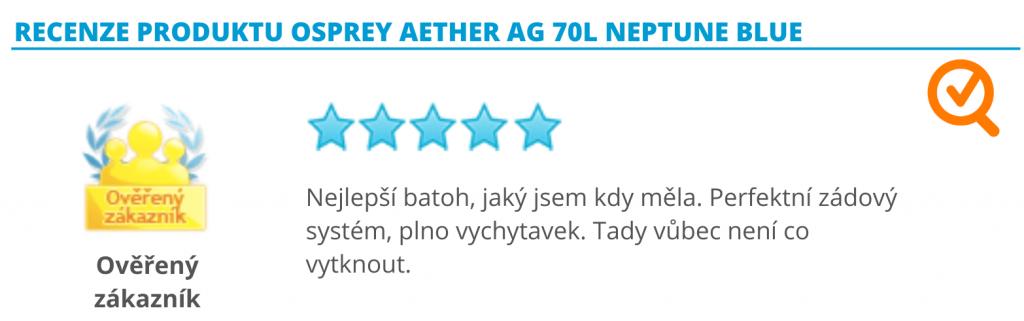 Recenze krosny Osprey Aether AG 70L Neptune Blue
